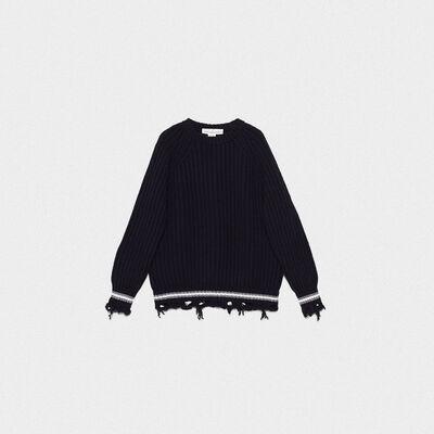 Kunio round neck sweater in extrafine merino wool