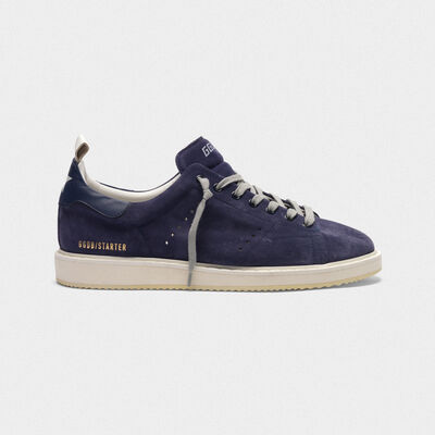 Starter sneakers in suede with leather heel tab