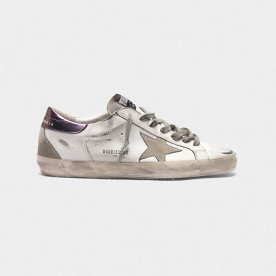 Sneakers Superstar con talloncino viola metallizzato
