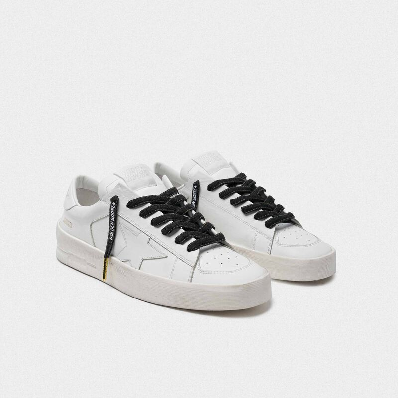 Golden Goose - Men's denim laces with white logo in  image number null