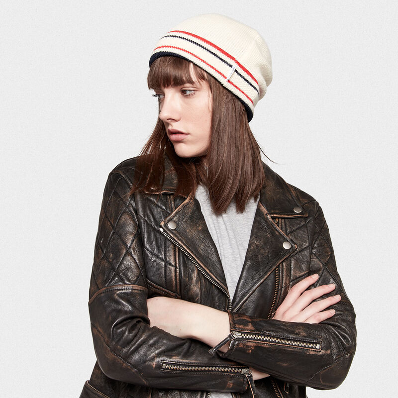 Golden Goose - Kyoko wool beanie with stripes in nylon in  image number null