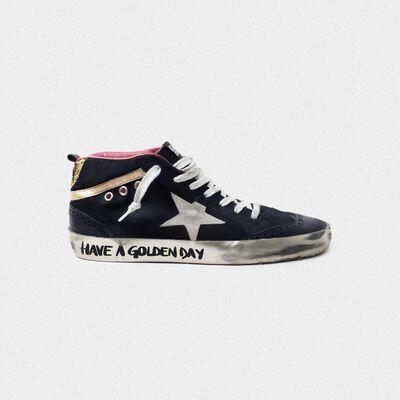 Sneakers Mid-Star nere con inserti dorati e glitter