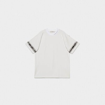 Ryo T-shirt in cotton jersey with logo and contrast stripes