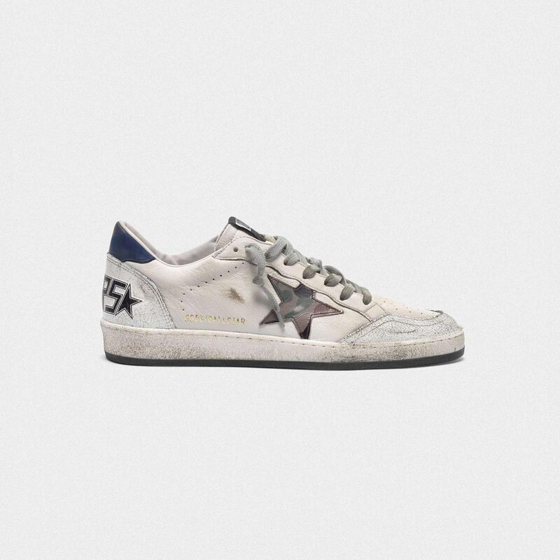 Golden Goose - Ball Star sneakers with camouflage star and navy heel tab in  image number null