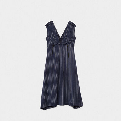 Sleeveless Sagiso dress in wool blend with pinstripe