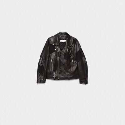 Patchwork effect leather biker jacket