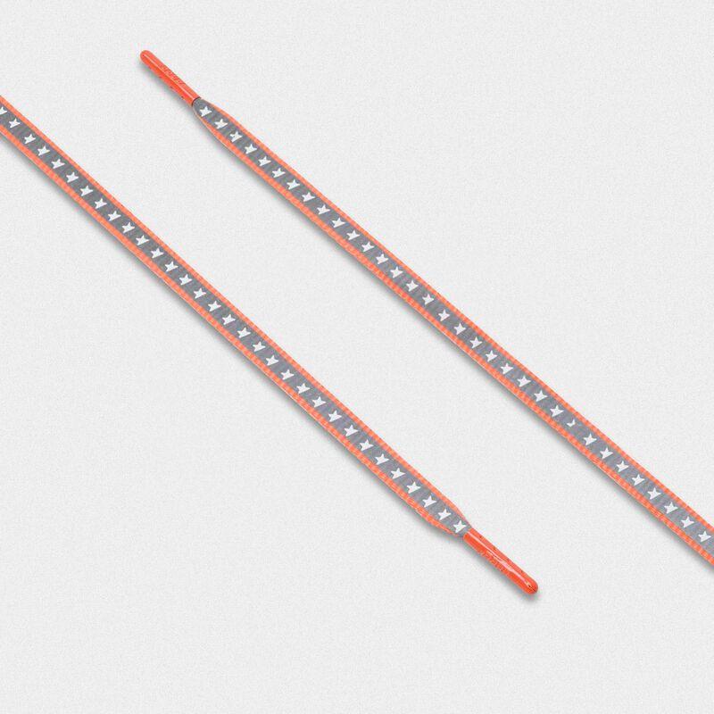 Golden Goose - Lacci donna riflettenti arancio fluo con stelle in  image number null