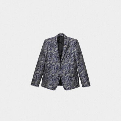 Single-breasted Milano jacket with jacquard paisley motif