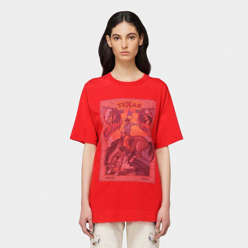 Golden Goose - T-shirt Over rossa con stampa rodeo Texas in  image number null
