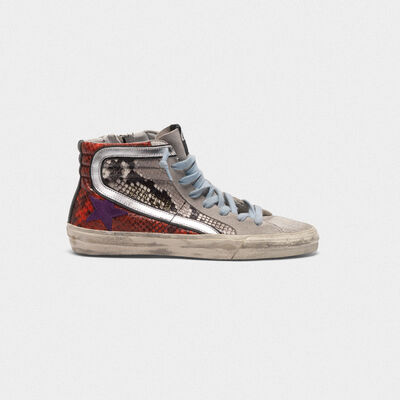 Slide sneakers with multi-coloured snakeskin print
