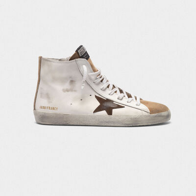 Francy sneakers in nude suede and white leather with contrast star