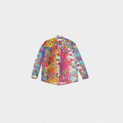 Stella shirt in sheer fabric with striped floral print