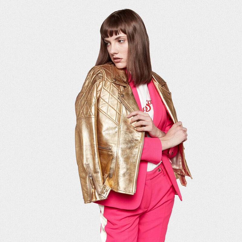 Golden Goose - Yasu biker jacket in gold leather with star print in  image number null