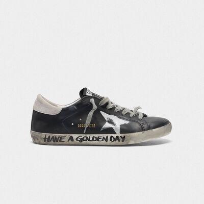 Sneakers Superstar nere con scritta a mano