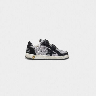 Sneakers Old School con glitter e tallone in camoscio