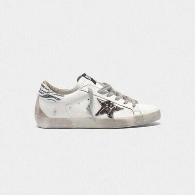 Superstar sneakers with leopard-print star and zebra-print heel tab