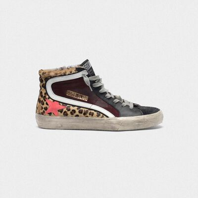 Slide sneakers in leopard print pony skin and suede with pink star