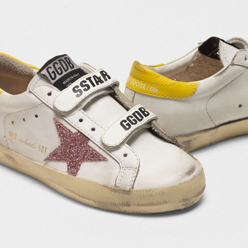 Golden Goose - Sneakers Old School con stella glitter e talloncino giallo in  image number null