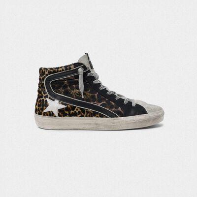 Slide sneakers in leopard-print leather