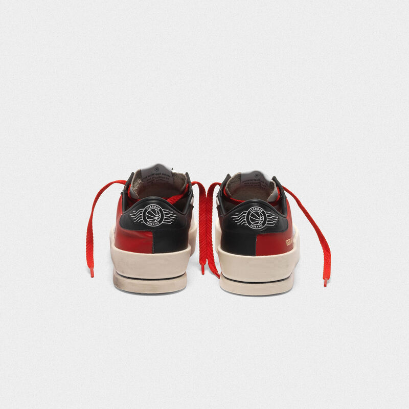 Golden Goose - Stardan sneakers in red and white leather with mesh inserts in  image number null