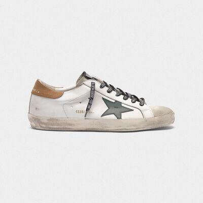 White Superstar sneakers with lizard-print heel tab