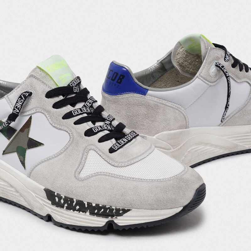 Golden Goose - Sneakers Running Sole bianche con stella camouflage in  image number null