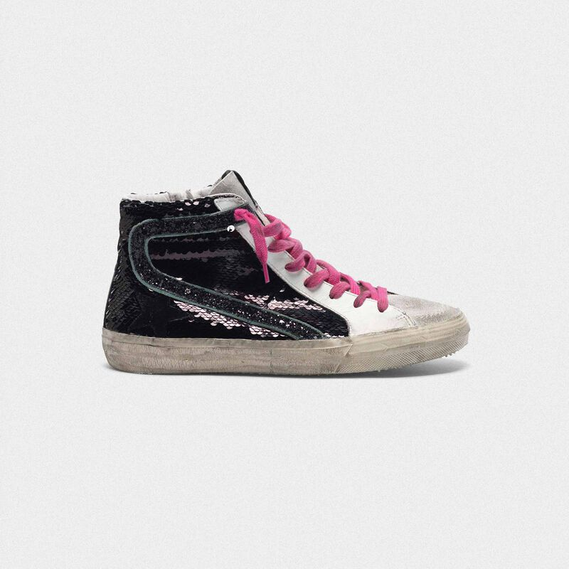 Golden Goose - Slide sneakers with black sequins in  image number null