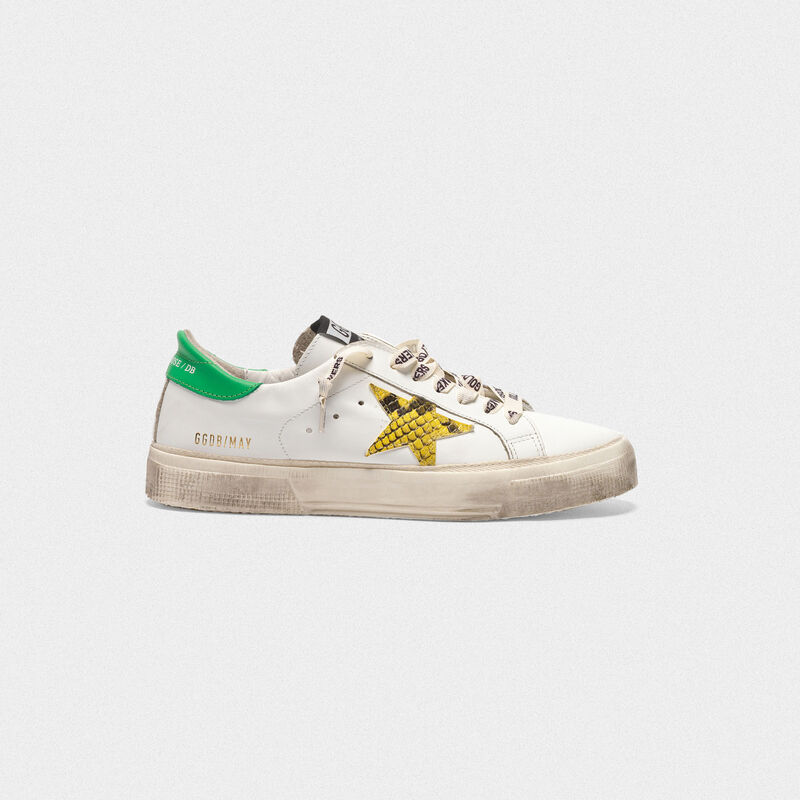 Golden Goose - Sneakers May in con stella stampa serpente e talloncino verde in  image number null