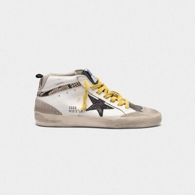 Sneakers Mid- Star in pelle con inserto in stampa serpente