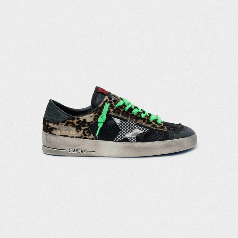 Golden Goose - Leopard print Stardan sneakers with green laces in  image number null