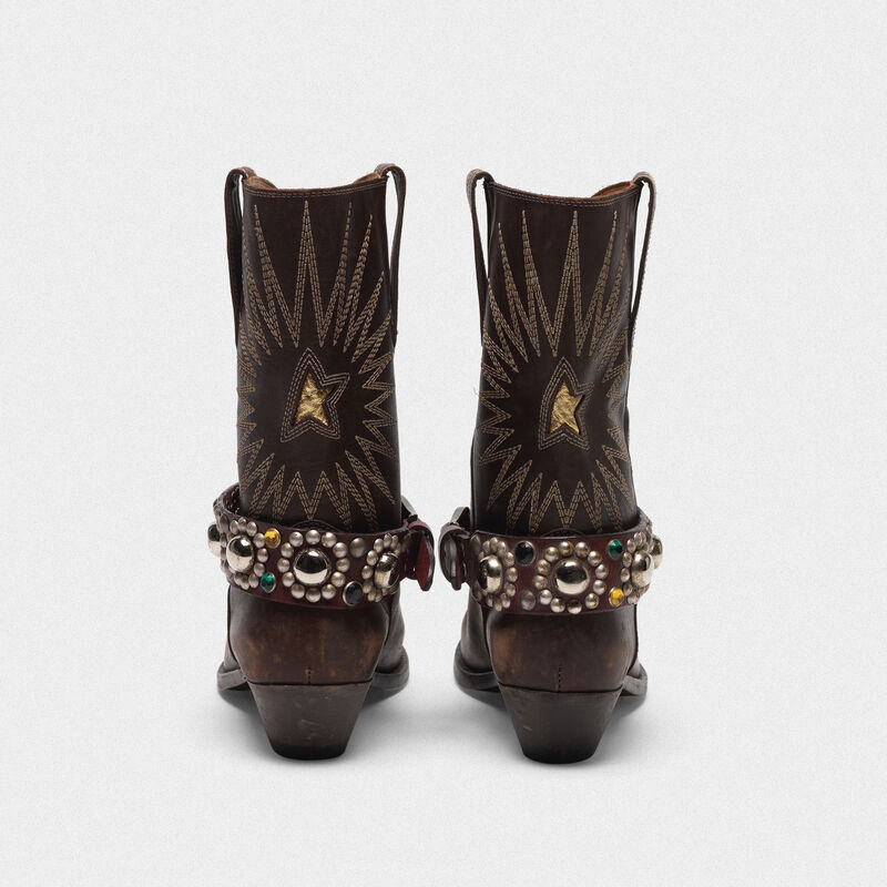 Golden Goose - Low Wish Star boots in leather with studded strap  in  image number null