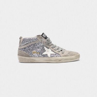 Sneakers Mid-Star in glitter e pelle scamosciata