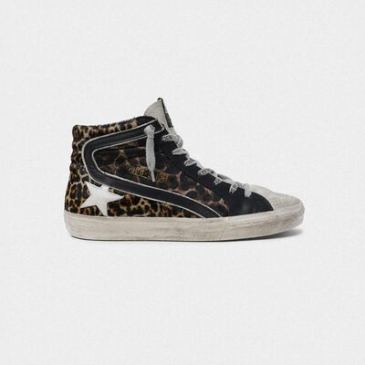 Sneakers Slide in pelle con stampa leopardata