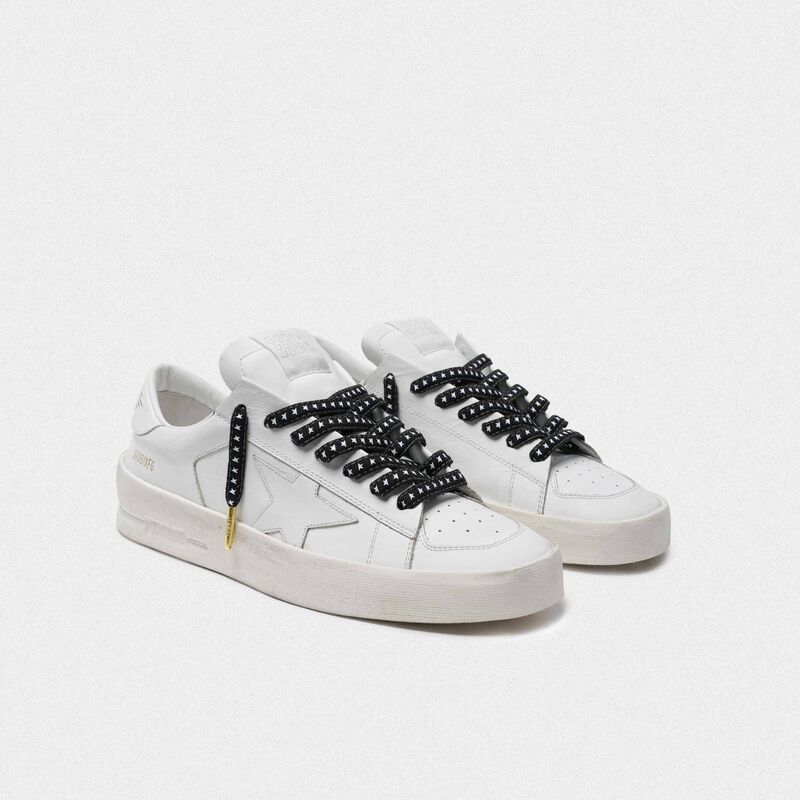 Golden Goose - Men's denim laces with white stars in  image number null