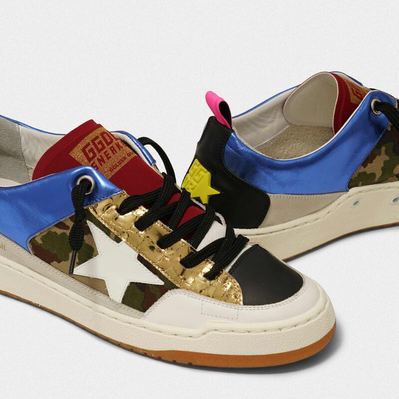 Golden Goose - Sneakers Yeah! blu e camouflage con stella bianca in  image number null