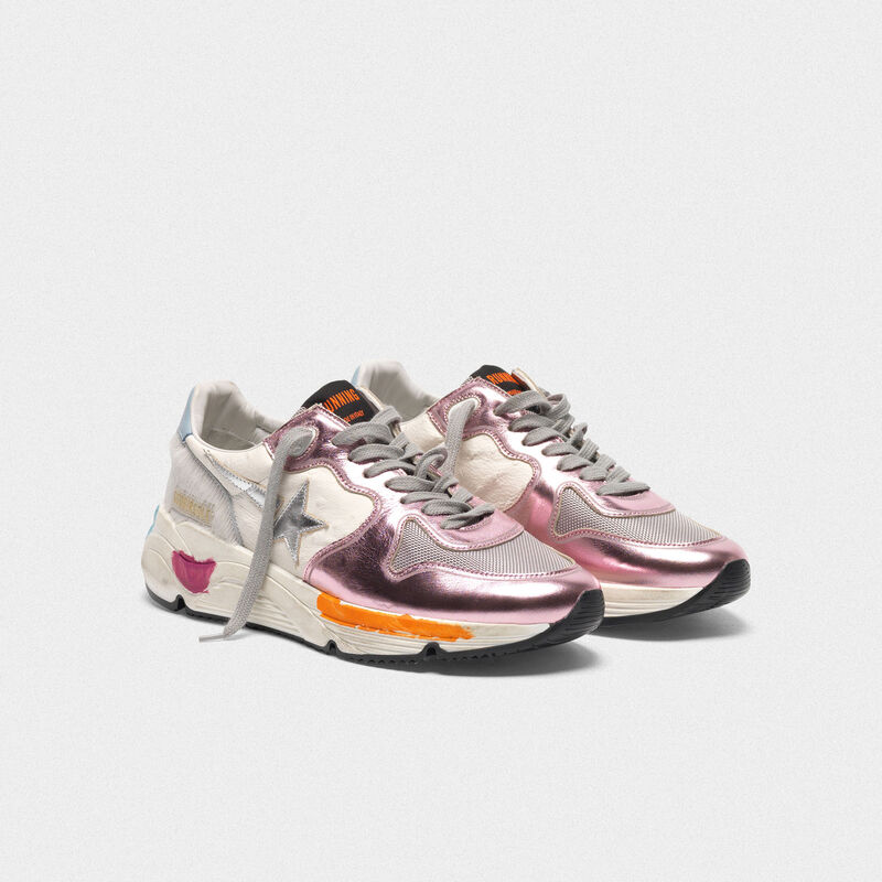 Golden Goose - Sneakers Running Sole rosa laminate e stella argentata in  image number null
