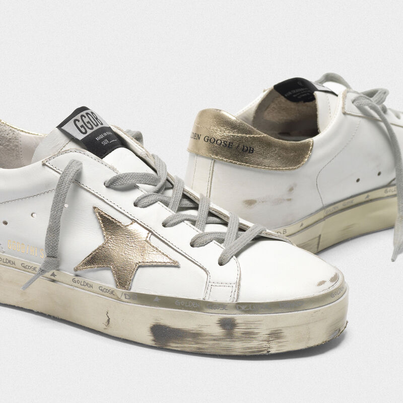 Golden Goose - Sneakers Hi-Star bianche e dorate con foxing sparkle in  image number null
