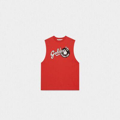 T-shirt Marfa rossa smanicata stampa Golden
