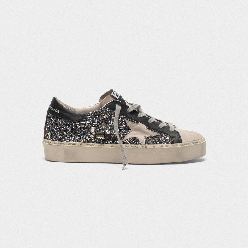 Golden Goose - Sneakers Hi Star in glitter e pelle scamosciata in  image number null