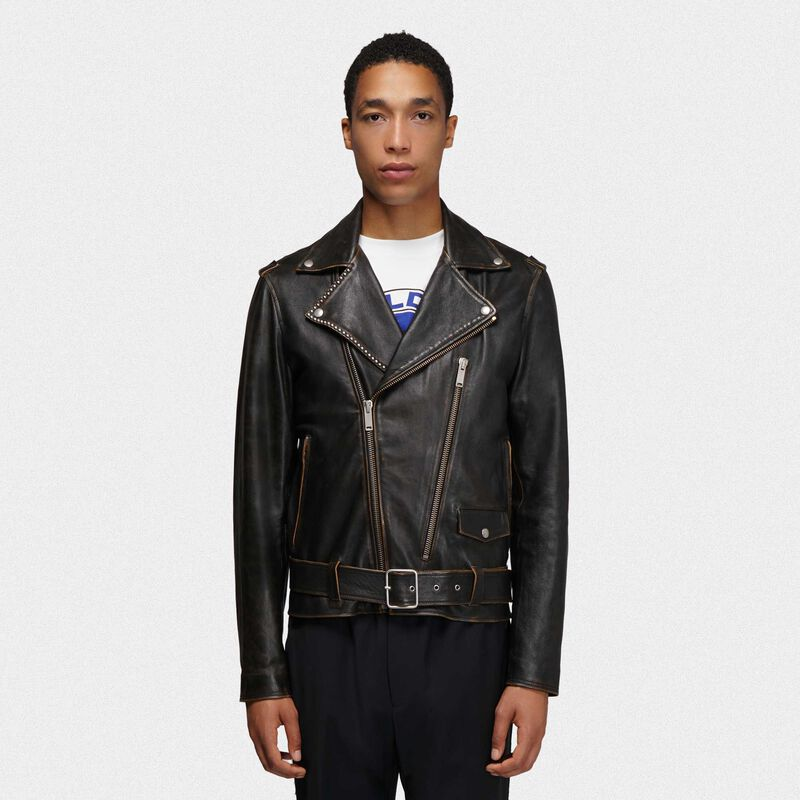 Golden Goose - Black Ryan biker jacket with decorative studs   in  image number null