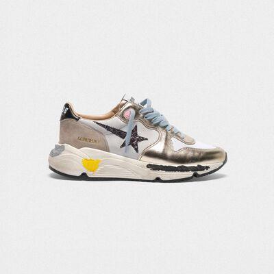 Laminated Running sneakers, nubuck insert and glittery star