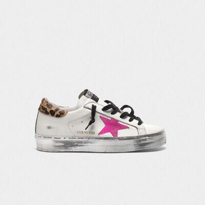 Sneakers Hi Star con stella fuxia e talloncino leopardato