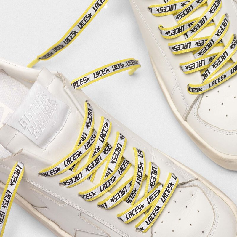 """Golden Goose - Grosgrain laces with reflective band and """"Laces"""" print in  image number null"""