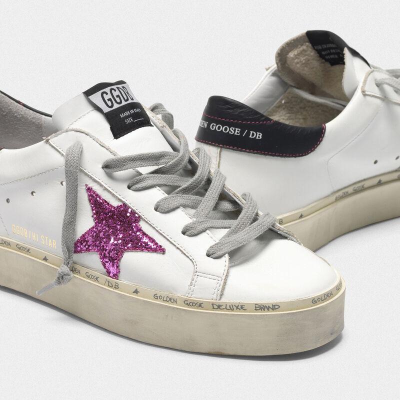 Golden Goose - Sneakers Hi Star con stella in glitter rosa e talloncino nero in  image number null