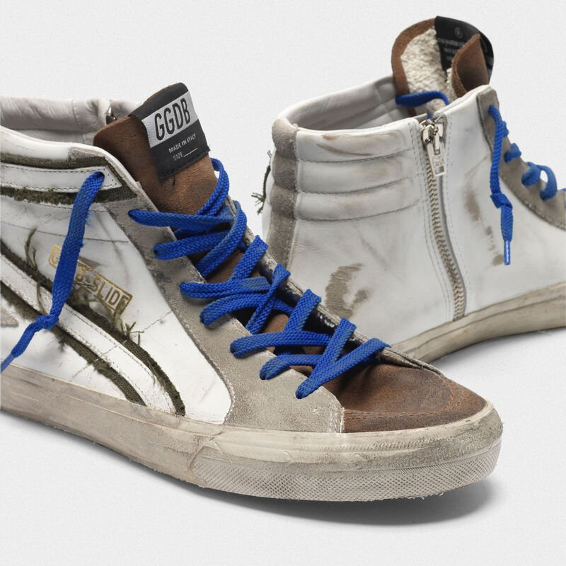 Golden Goose - Leather and suede sneakers with inserts in raw edge canvas in  image number null