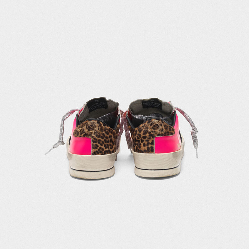 Golden Goose - Stardan sneakers in fluorescent patchwork with leopard print heel tab in  image number null
