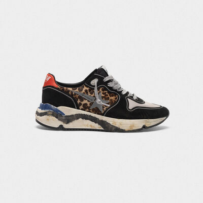Running Sole sneakers in leopard-print pony skin and suede