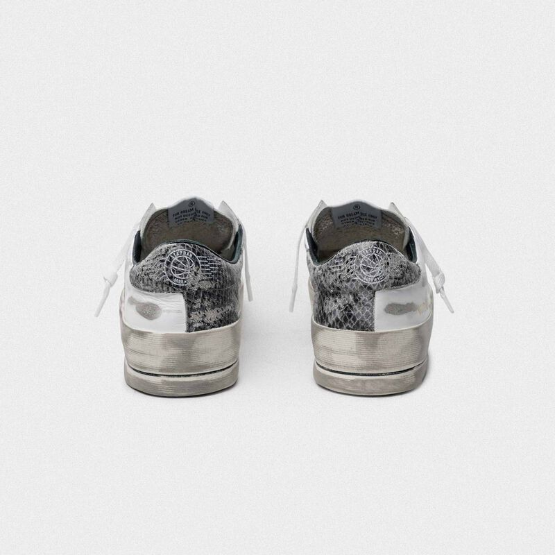 Golden Goose - Sneakers Stardan bianche con talloncino pitonato in  image number null