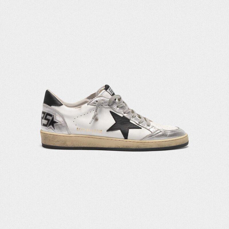 Golden Goose - Sneakers Ball Star in pelle inserti metallizzati e stella nera in  image number null