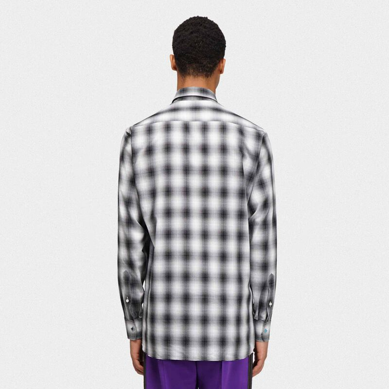 Golden Goose - Nathan checked shirt with studs and rhinestones on the collar in  image number null